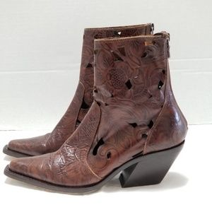 Donald J Pliner Brown Leather Laser Cut Booties